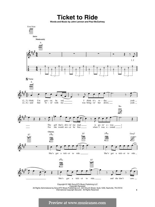Ticket to Ride (The Beatles): para ukulele by John Lennon, Paul McCartney