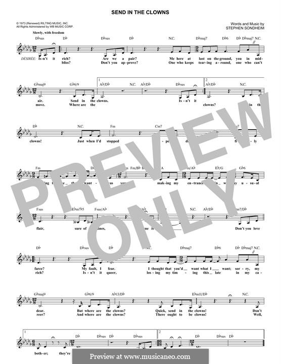 Send in the Clowns (from A Little Night Music): melodia by Stephen Sondheim