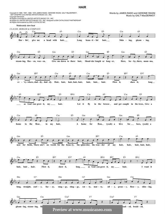 Hair (from Hair): melodia by Galt MacDermot