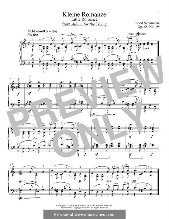 No.19 Kleine Romanze (Little Romance): Para Piano by Robert Schumann