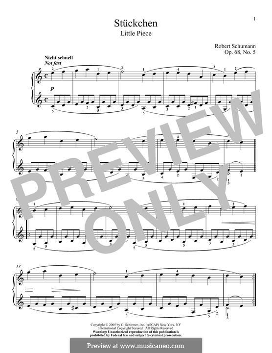 No.5 Stückchen (Little Piece): Para Piano by Robert Schumann
