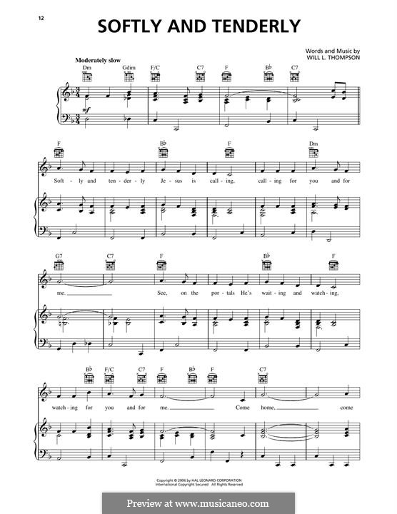 Softly and Tenderly: Para vocais e piano (ou Guitarra) by Will Lamartine Thompson