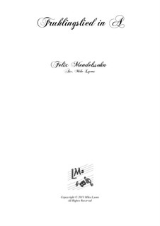 Songs without Words, Op.62: No.6 Spring Song, for brass quintet by Felix Mendelssohn-Bartholdy