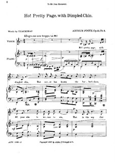 Five Songs, Op.13: No.4 Ho! Pretty Page by Arthur Foote