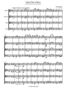 No.10 The Bogatyr Gates. In the Capital in Kiev: para quartetos de cordas by Modest Mussorgsky