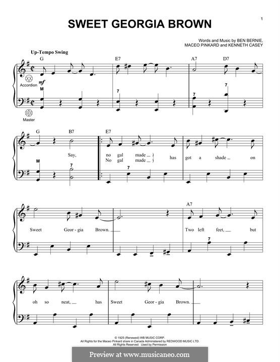 Sweet Georgia Brown: para acordeão by Maceo Pinkard, Kenneth Casey