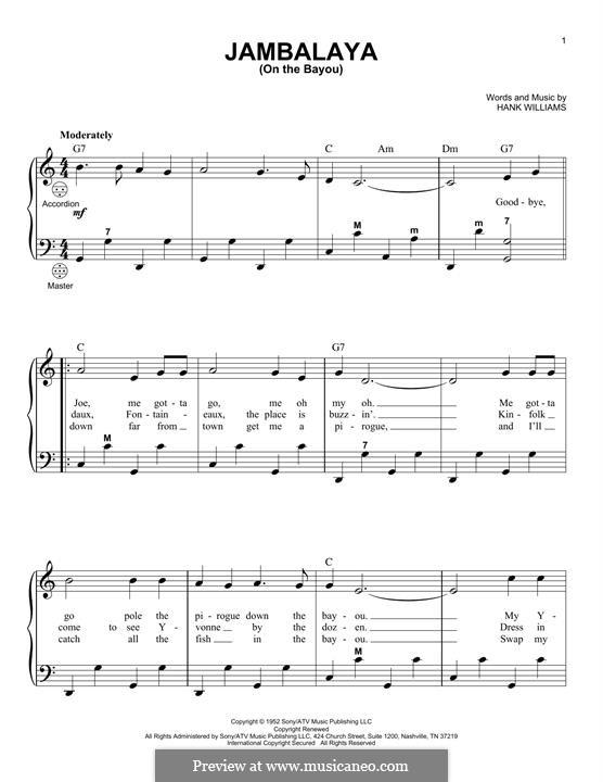 Jambalaya (On the Bayou): para acordeão by Hank Williams