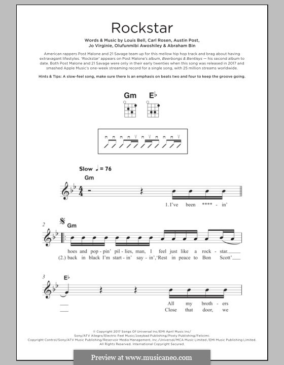 Rockstar (feat. 21 Savage): para ukulele by Carl Rosen, Louis Bell, Austin Post, Abraham Bin, Jo Virginie, Olufunmibi Awoshiley