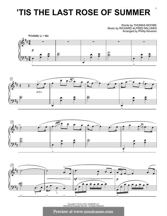 'Tis the Last Rose of Summer: Para Piano by Richard Alfred Milliken