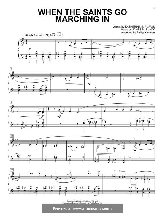 When the Saints Go Marching In: Para Piano by James Milton Black