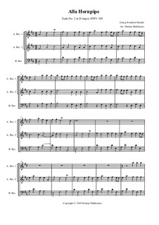 Suite No.2 in D Major, HWV 349: Alla Hornpipe, for trio recorder by Georg Friedrich Händel