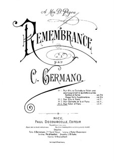 Remembrance for Violin and Piano: Remembrance for Violin and Piano by Nicolò Gabrielli