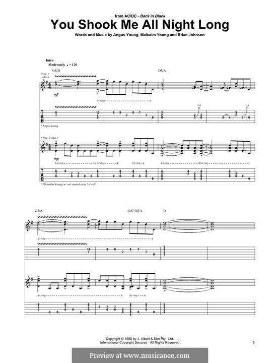 You Shook Me All Night Long (AC/DC): Para guitarra com guia by Angus Young, Brian Johnson, Malcolm Young