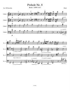 Prelude and Fugue No.8 in E Flat Minor, BWV 853: Prelude, for cello quartet by Johann Sebastian Bach