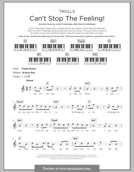 Can't Stop the Feeling: para teclado by Shellback, Justin Timberlake, Max Martin