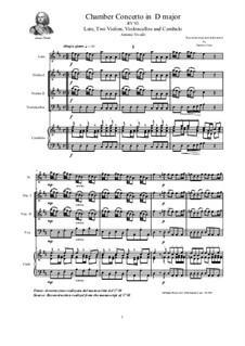 Concerto for Lute (or Mandolin) and Strings in D Major, RV 93: Score, parts by Antonio Vivaldi