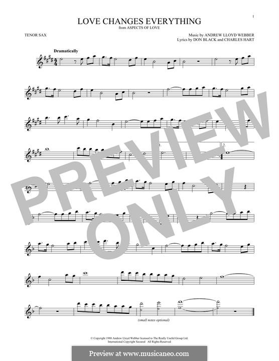 Love Changes Everything: para saxofone tenor by Andrew Lloyd Webber