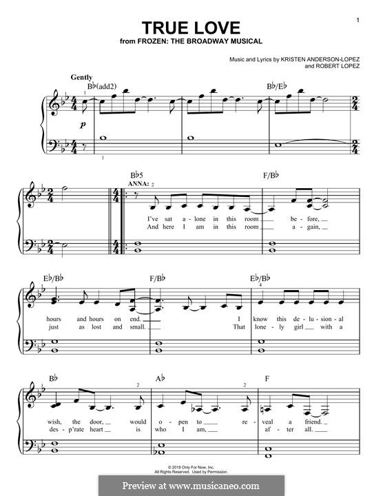 True Love (from Frozen: The Broadway Musical): Para Piano by Robert Lopez, Kristen Anderson-Lopez