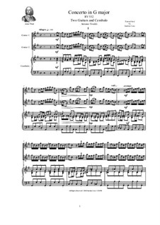 Concerto for Two Mandolins and Strings in G Major, RV 532: Version for two guitars and cembalo (or piano) by Antonio Vivaldi