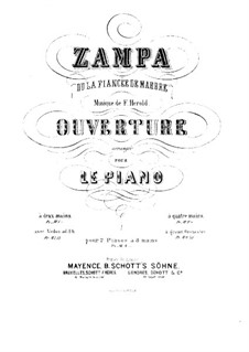 Zampa, ou La fiancée de marbre (Zampa, or the Marble Bride): abertura- para dois pianos de oito mãos - Piano parte II by Ferdinand Herold