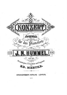 Concerto for Piano and Orchestra in A Minor, Op.85: arranjos para dois pianos de quatro mãos by Johann Nepomuk Hummel