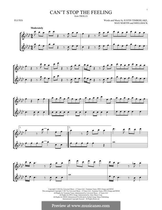 Can't Stop the Feeling: para duas flautas by Shellback, Justin Timberlake, Max Martin