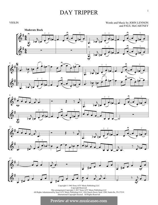 Day Tripper (The Beatles): para dois violinos by John Lennon, Paul McCartney
