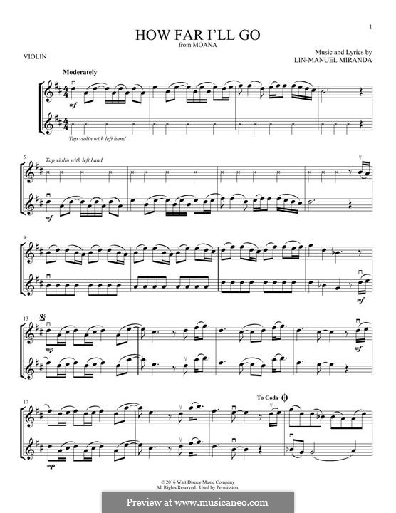 How Far I'll Go (Alessia Cara): para dois violinos by Lin-Manuel Miranda