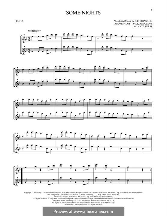 Some Nights (Fun): para duas flautas by Jeff Bhasker, Jack Antonoff, Andrew Dost, Nathaniel Ruess