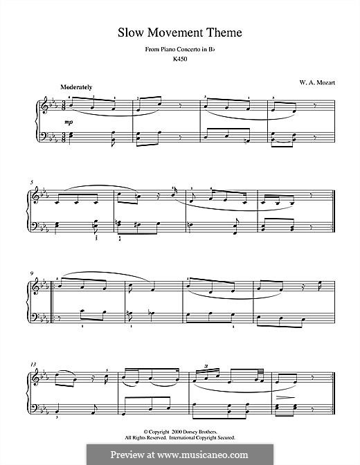 Concerto for Piano and Orchestra No.15 in B Flat Major, K.450: Slow Movement Theme, for piano by Wolfgang Amadeus Mozart