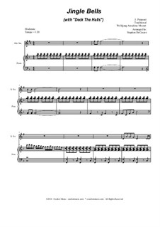 Jingle Bells (with 'Deck The Halls'): Duet for soprano and alto saxophone by Wolfgang Amadeus Mozart, folklore, James Lord Pierpont
