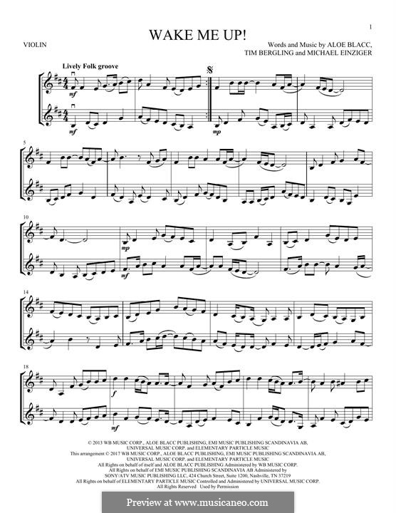 Wake Me Up: para dois violinos by Aloe Blacc, Michael Einziger, Avicii, Arash Andreas Pournouri