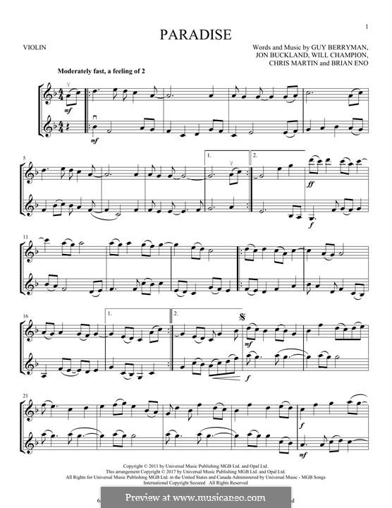 Paradise (Coldplay): para dois violinos by Brian Eno, Chris Martin, Guy Berryman, Jonny Buckland, Will Champion