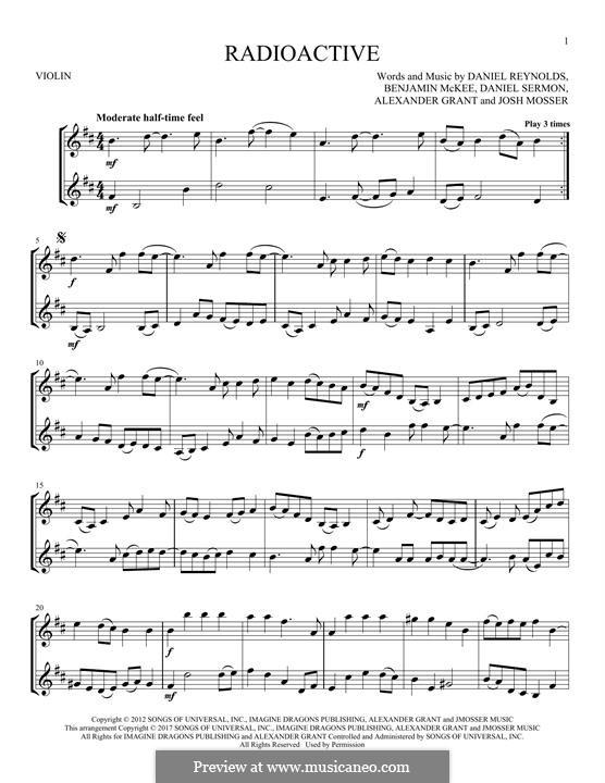 Radioactive (Imagine Dragons): para dois violinos by Alexander Grant, Benjamin McKee, Daniel Reynolds, Daniel Sermon, Josh Mosser
