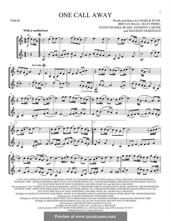 One Call Away: para dois violinos by Justin Franks, Matthew Prime, Shy Carter, Breyan Isaac, Maureen McDonald, Charlie Puth