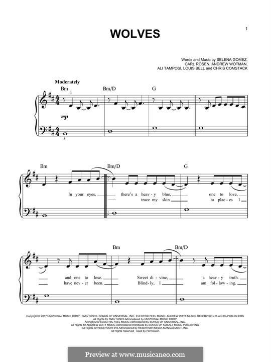 Wolves (Selena Gomez & Marshmello): Para Piano by Alexandra Tamposi, Selena Gomez, Andrew Wotman, Carl Rosen, Louis Bell, Marshmello
