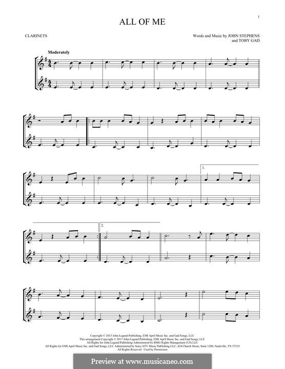 All of Me: para duas clarinetas by John Stephens, Tobias Gad