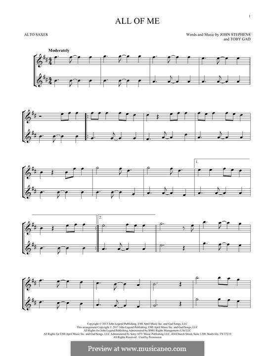 All of Me: para dois alto saxophones by John Stephens, Tobias Gad