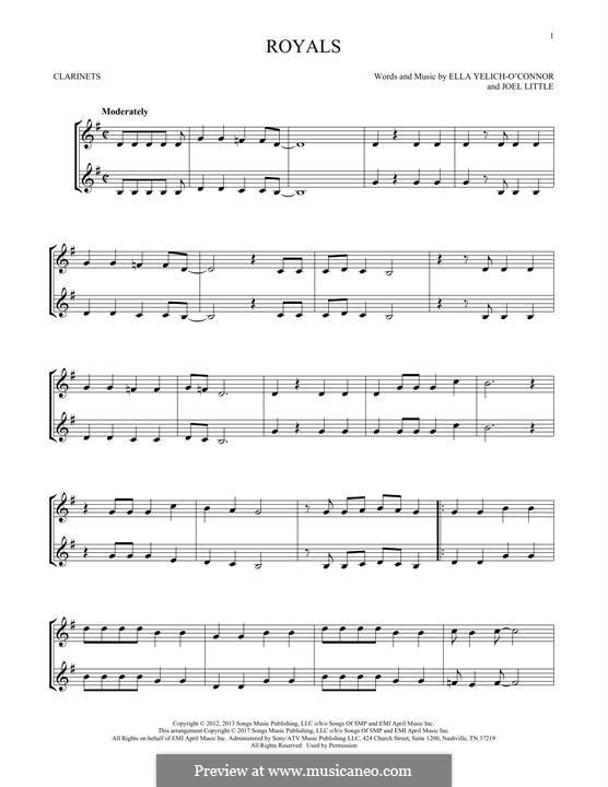 Royals (Lorde): para duas clarinetas by Ella Yelich-O'Connor, Joel Little