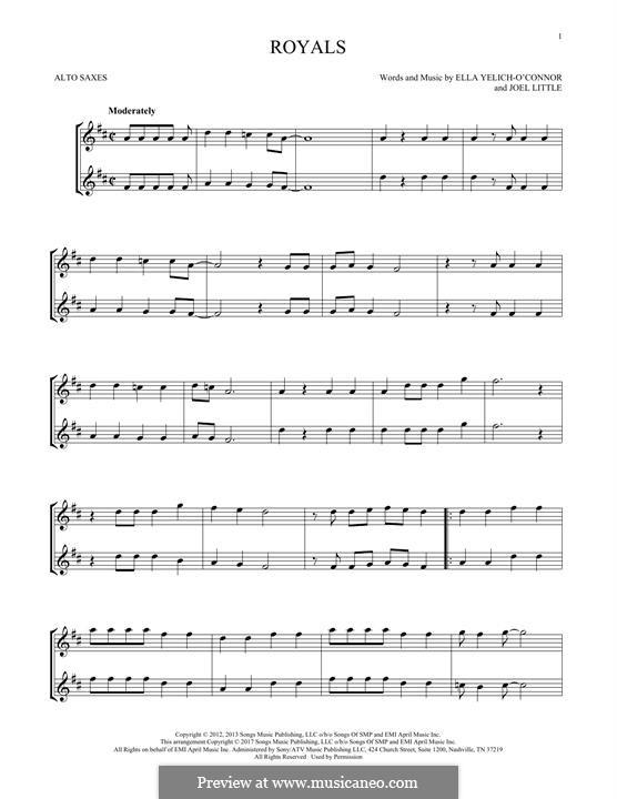 Royals (Lorde): para dois alto saxophones by Ella Yelich-O'Connor, Joel Little