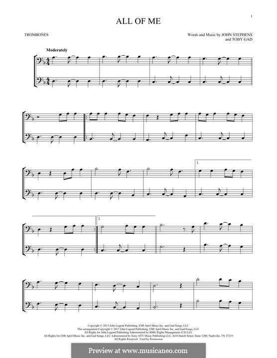 All of Me: For two trombones by John Stephens, Tobias Gad