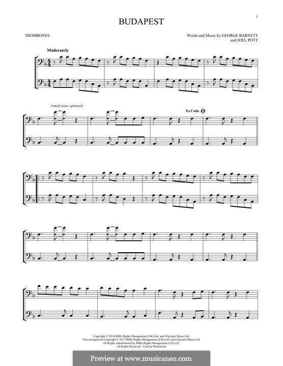 Budapest: For two trombones by Joel Pott, George Ezra Barnett