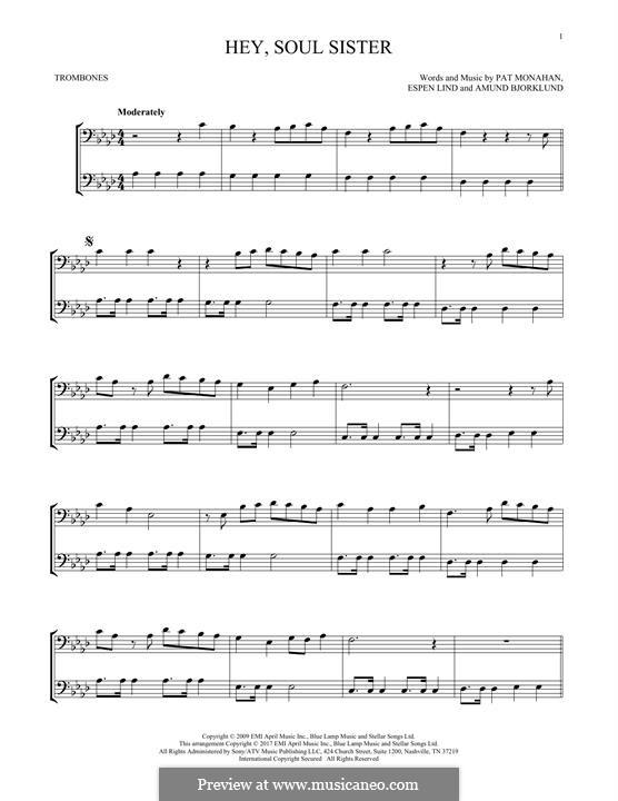 Hey, Soul Sister (Train): For two trombones by Amund Bjorklund, Espen Lind, Patrick Monahan