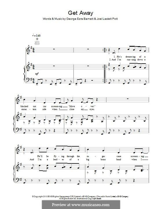 Get Away: Para vocais e piano (ou Guitarra) by Joel Pott, George Ezra Barnett