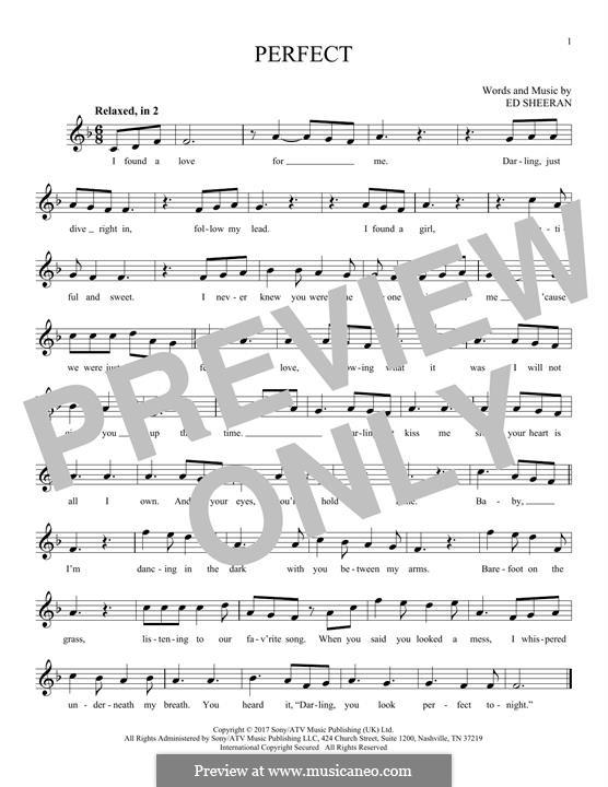 Perfect: melodia by Ed Sheeran