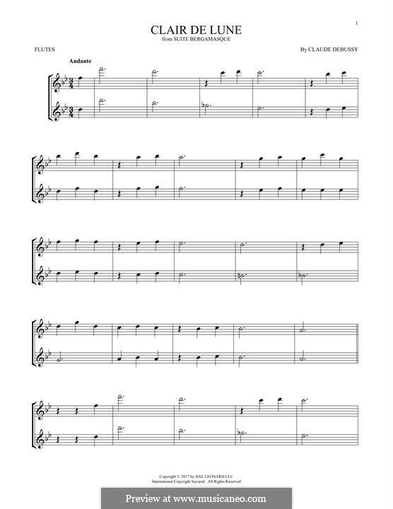 No.3 Clair de lune: para duas flautas by Claude Debussy