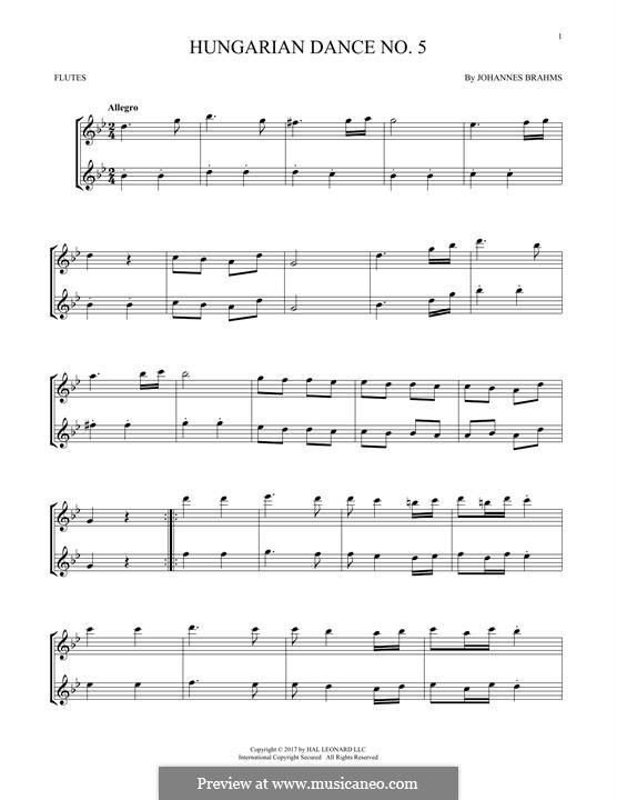 Dance No.5 in F Sharp Minor (Printable scores): para duas flautas by Johannes Brahms