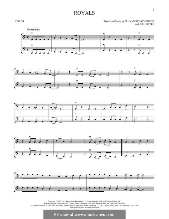 Royals (Lorde): para dois violinos by Ella Yelich-O'Connor, Joel Little