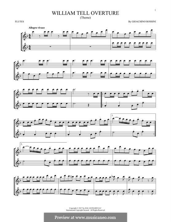 Overture (Printable Scores): para duas flautas by Gioacchino Rossini