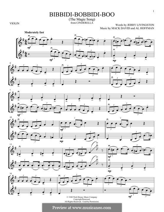 Bibbidi-Bobbidi-Boo (The Magic Song): para dois violinos by Al Hoffman, Mack David